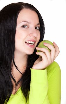Free Young Woman With A Green Apple Royalty Free Stock Photography - 16453287