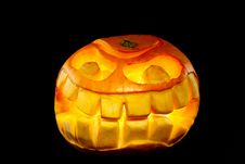 Free Orange Smiling Pumpkin Royalty Free Stock Images - 16454329