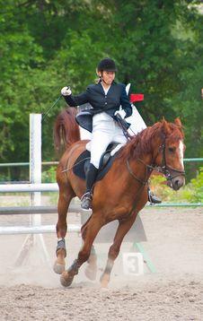 Free Jockey Riding A Horse Stock Photo - 16454960
