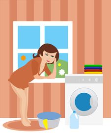 Free Housewife In The Laundry Royalty Free Stock Images - 16455039