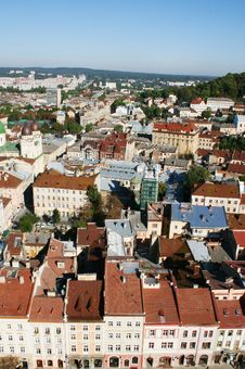 Panorama Of A City Of Lvov Stock Photos