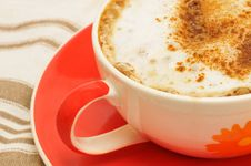 Free Cappucino In A Colorful Cup Stock Photo - 16455880
