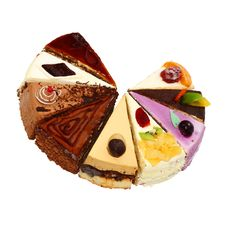 Nine Various Pieces Of Cake Royalty Free Stock Images