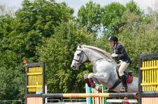 Free Jockey Jumps Over A Hurdle Royalty Free Stock Photography - 16456987