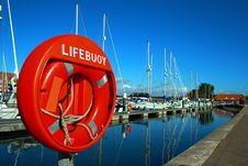Free Lifebouy On Weymouth Marina UK Royalty Free Stock Photo - 16457065