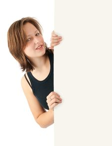 Free Girl Holding A Blank Billboard Stock Photography - 16457112