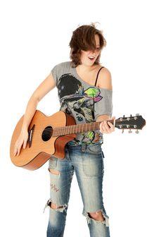Free Beautiful Young Girl Playing Guitar Stock Photos - 16457213