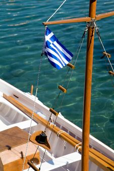 Free Greek Flag On A Ship Stock Photography - 16458282