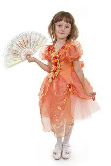 Free Little Girl Holding Folding Fan. Stock Image - 16458331