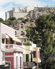 Free Elegant Houses Under Athens Acropolis Stock Images - 16458354