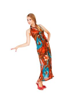 Beautiful Young Lady In Colorful Dress Royalty Free Stock Photos