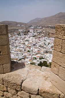 Free Lindos Town From The Acropolis Stock Photos - 16458643