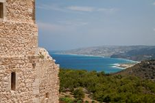 View From Kritinia Castle Rhodes Royalty Free Stock Image