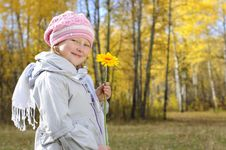 Free Little Girl With A Yellow Flower Stock Images - 16459174