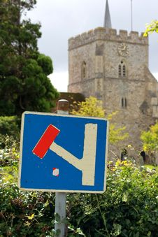 Free Dead End Signpost In Front Of A Church Royalty Free Stock Image - 16459646