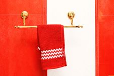 Red Towel And A Ceramic Tile Stock Image