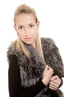 Free Blonde Girl In Fur Jacket Royalty Free Stock Images - 16460919