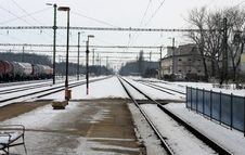 Free Railway Station In Winter Royalty Free Stock Image - 16461326