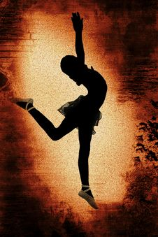 Dancer Over Grunge Background Royalty Free Stock Photography