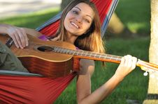 Free Girl Playing Guitar Stock Images - 16461904