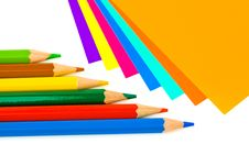 Multicolored Paper And Pencils Royalty Free Stock Image