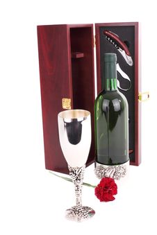 Bottle Of White Wine And Sommelier Set