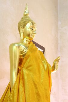 Free Standing Golden Buddha. Royalty Free Stock Images - 16463859