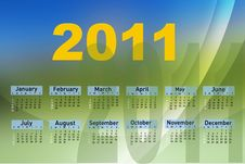 Free Calendar For Year 2011 Royalty Free Stock Photo - 16465325