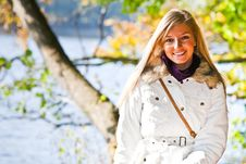 Free Caucasian Young Adult Blond Woman Outdoor Fall Tim Royalty Free Stock Photography - 16465387
