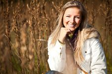 Free Caucasian Young Adult Blond Woman Outdoor Fall Tim Royalty Free Stock Photography - 16465437