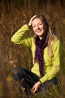 Free Caucasian Young Adult Blond Woman Outdoor Fall Tim Royalty Free Stock Photo - 16465505