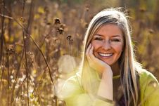 Free Caucasian Young Adult Blond Woman Outdoor Fall Tim Stock Image - 16465581