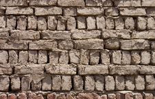Wall From Clay Bricks As A Background Stock Photography