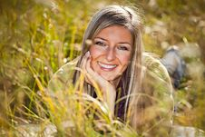Free Caucasian Young Adult Blond Woman Outdoor Fall Tim Stock Image - 16465631