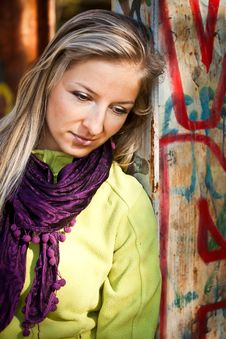 Free Caucasian Young Adult Blond Woman Outdoor Fall Tim Royalty Free Stock Images - 16465769