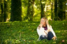 Free Caucasian Young Adult Blond Woman Outdoor Fall Tim Stock Images - 16465824
