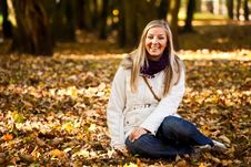 Free Caucasian Young Adult Blond Woman Outdoor Fall Tim Royalty Free Stock Photo - 16465855