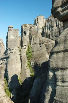 Meteora Rocks,Greece,famous For Its Unusual Rocks Royalty Free Stock Image