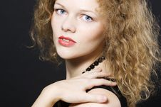 Free Young Woman With Curly Hairs Royalty Free Stock Image - 16466366