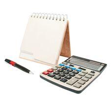 Free Calculator, A Pen, A Diary Stock Photos - 16467123