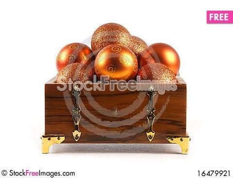 Free A Chest Full Of Golden Christmals Balls Stock Image - 16479921