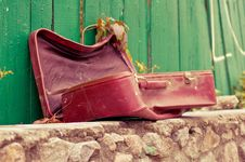Vintage Weathered Leather Suitcase Stock Photos