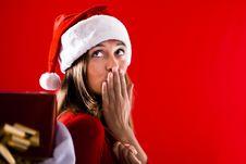 Santa Girl Sending Kiss Royalty Free Stock Photo