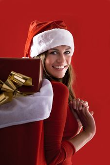 Free Cheerful Santa Girl Stock Image - 16471471