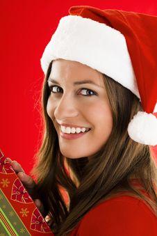 Free Santa Girl With Present Royalty Free Stock Photo - 16471665