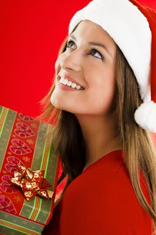 Free Santa Girl With Present Stock Photography - 16471742