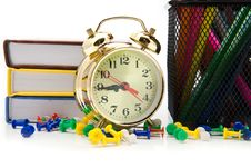 Books, Clock And Pencils Royalty Free Stock Photo