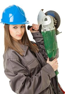 Free Female Worker Grinder Royalty Free Stock Images - 16473239