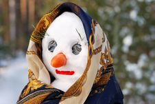 Snowwoman With Hat, Carrot Nose And Scarf Stock Photography