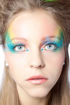 Free Beautiful Woman  With Color Makeup Royalty Free Stock Images - 16474799